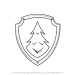 How to Draw Everest Badge from PAW Patrol