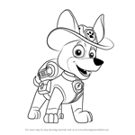 How to Draw Tracker from PAW Patrol