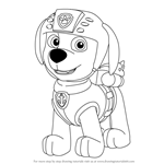 How to Draw Zuma from PAW Patrol