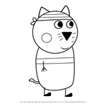 How to Draw Charles Cat from Peppa Pig