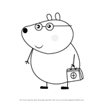 How to Draw Dr Brown Bear from Peppa Pig