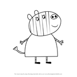 How to Draw Mrs. Zebra from Peppa Pig