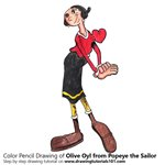 How to Draw Olive Oyl from Popeye the Sailor