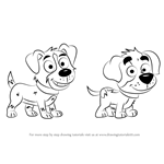 How to Draw Bart and Tony from Pound Puppies