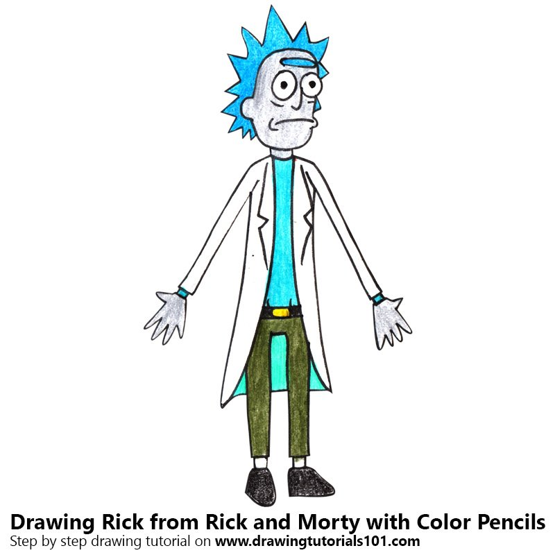 Rick from Rick and Morty Color Pencil Drawing