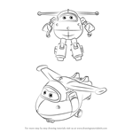 How to Draw Jett from Super Wings