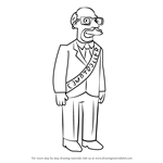 How to Draw Atkins, State Comptroller from The Simpsons