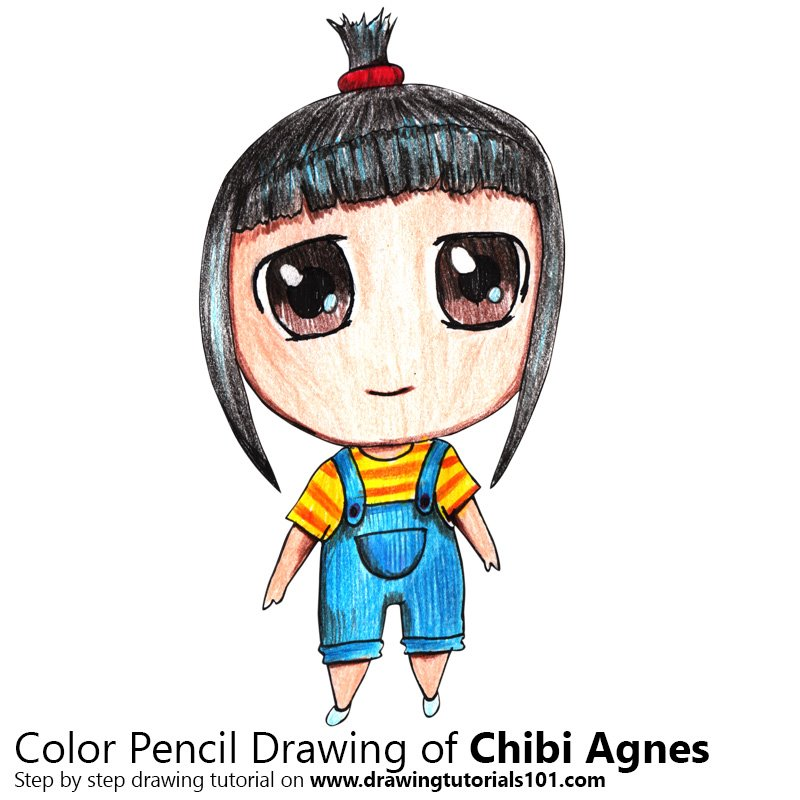 Chibi Agnes from Despicable Me Color Pencil Drawing