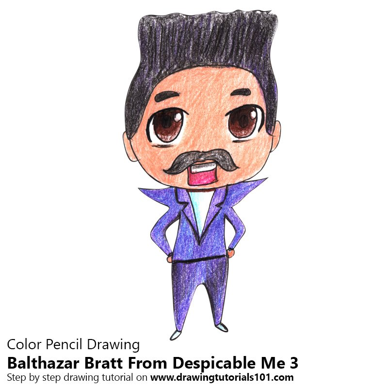 Chibi Balthazar Bratt From Despicable me 3 Color Pencil Drawing