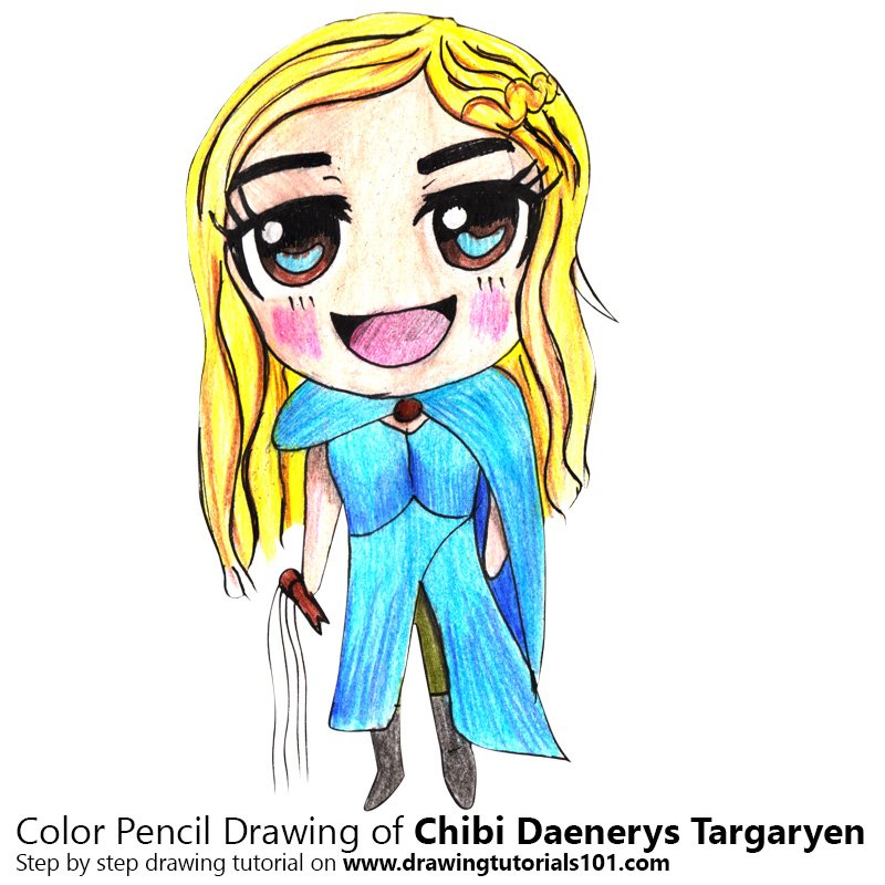 Chibi Daenerys Targaryen Color Pencil Drawing