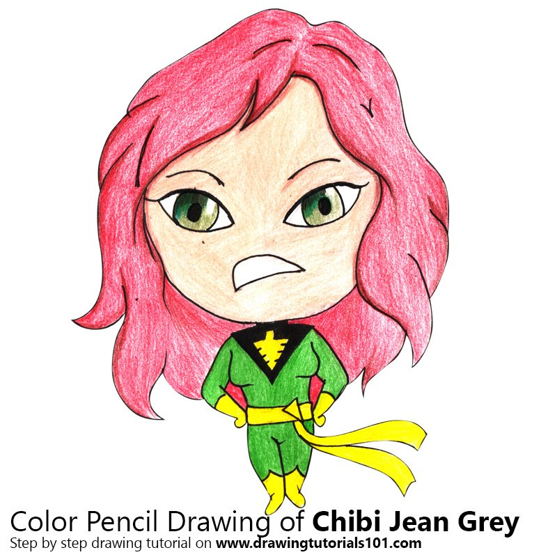 Chibi Jean Grey Color Pencil Drawing