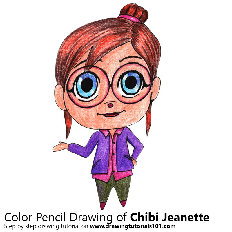 Chibi Jeanette Color Pencil Drawing