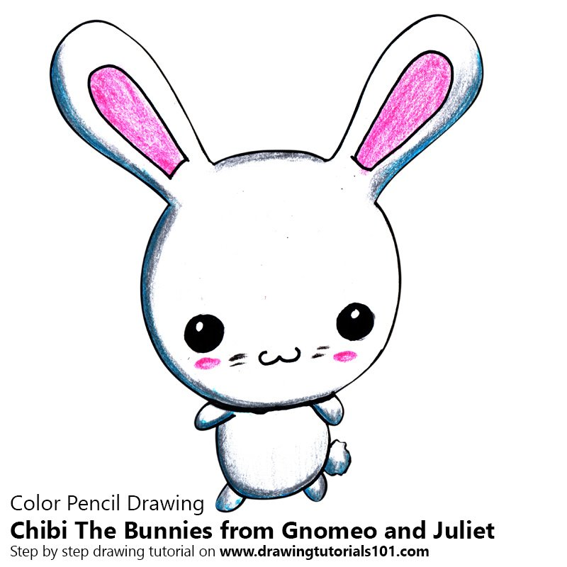 Chibi The Bunnies from Gnomeo and Juliet Color Pencil Drawing