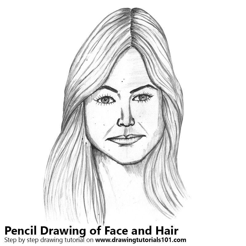 Pencil Sketch of Female Face with Hair - Pencil Drawing