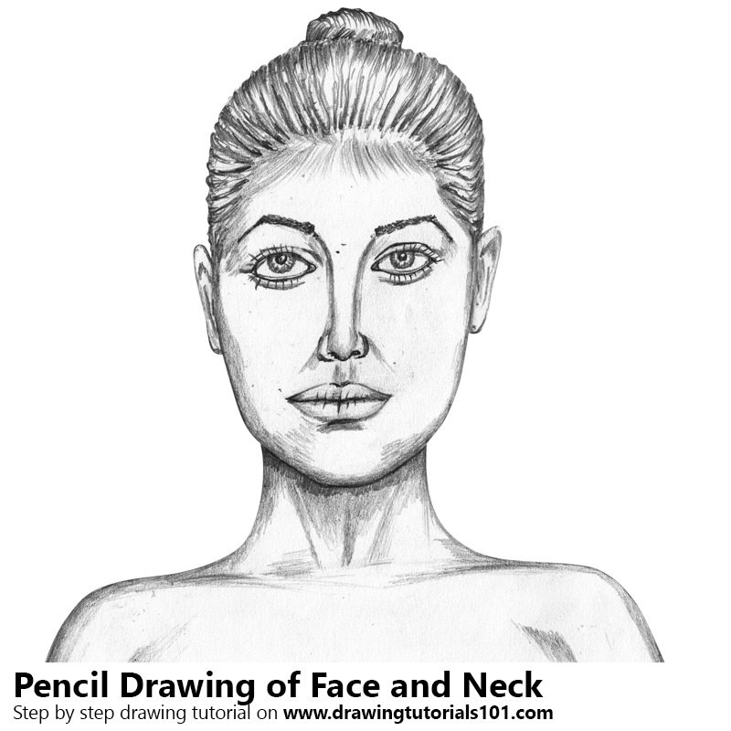 Pencil Sketch of Female Face with Neck - Pencil Drawing