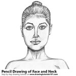 Female Face with Neck Pencil Sketch