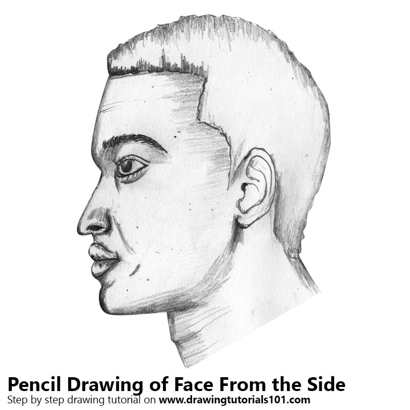 Pencil Sketch of Face From the Side - Pencil Drawing