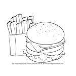 How to Draw Hamburger and Fries