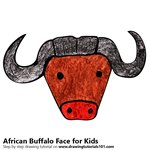 How to Draw an African Buffalo Face for Kids