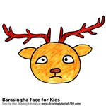 How to Draw a Barasingha Face for Kids