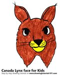 How to Draw a Canada Lynx face for Kids