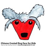 How to Draw a Chinese Crested Dog Face for Kids