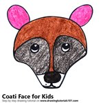 How to Draw a Coati Face for Kids
