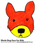 How to Draw a Dhole Dog Face for Kids