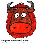 How to Draw an European Bison Face for Kids