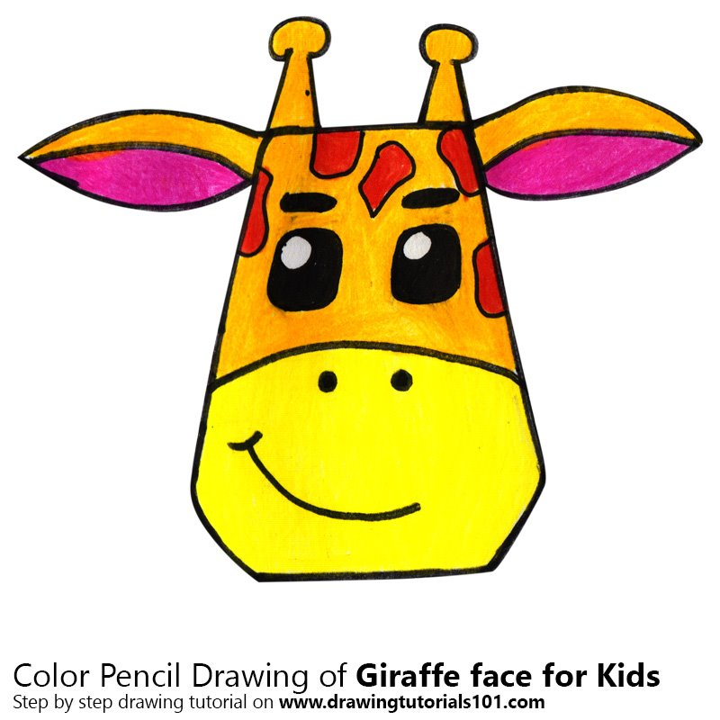 Giraffe Face for Kids Color Pencil Drawing