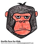 How to Draw a Gorilla Face for Kids