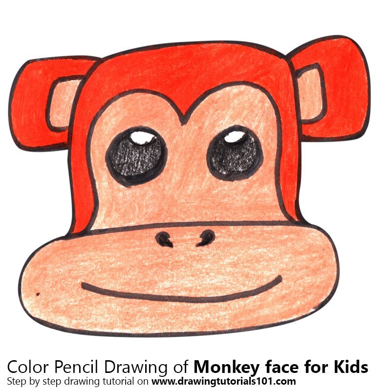 Monkey Face for Kids Color Pencil Drawing