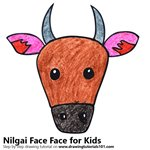 How to Draw a Nilgai Face for Kids