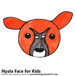 How to Draw a Nyala Face for Kids