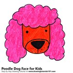 How to Draw a Poodle Dog Face for Kids