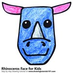 How to Draw a Rhinoceros Face for Kids