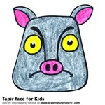 How to Draw a Tapir Face for Kids