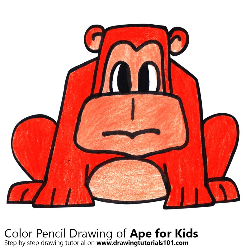Ape for Kids Color Pencil Drawing