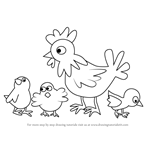 How to Draw Chicken and Chicks