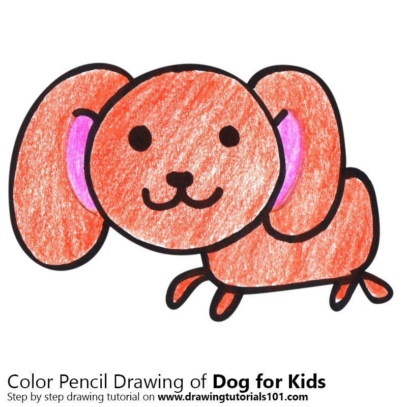 Dog For Kids Colored Pencils - Drawing Dog For Kids With Color Pencils :  DrawingTutorials101.com