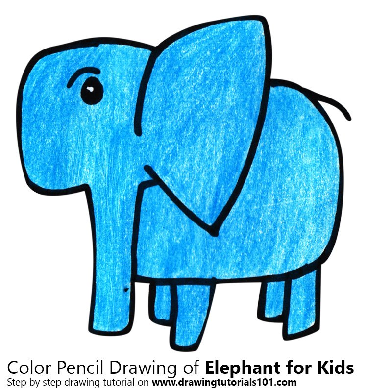 Elephant for Kids Color Pencil Drawing