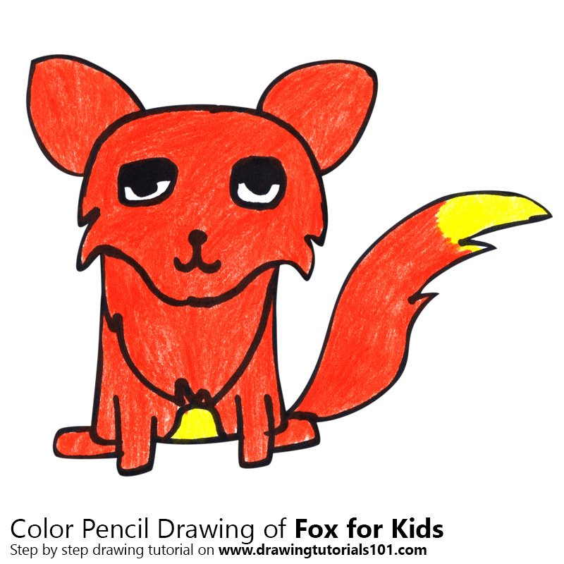 Fox for Kids Color Pencil Drawing