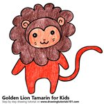 How to Draw a Golden Lion Tamarin for Kids