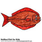 How to Draw a Halibut Fish for Kids