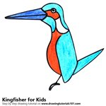 How to Draw a Kingfisher for Kids
