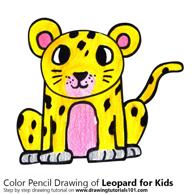Leopard for Kids Color Pencil Drawing
