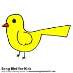How to Draw a Song Bird for Kids