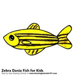 How to Draw a Zebra Dania Fish for Kids