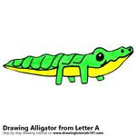 How to Draw an Alligator from Letter A