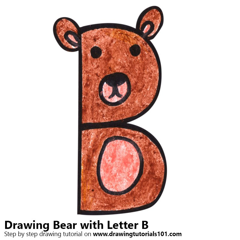 Bear from Letter B Color Pencil Drawing